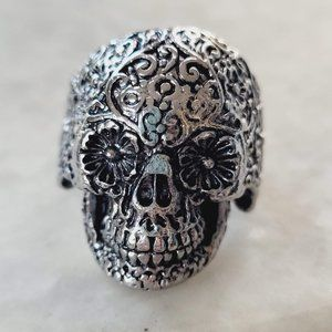 New Silver Tone Metal Day of the Dead Floral Skull Biker Punk Goth Ring Sz. 9